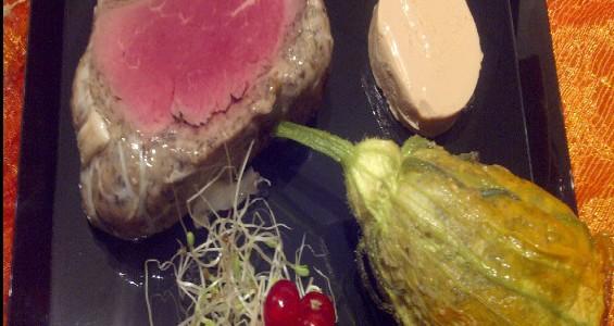 Filet de boeuf Robert et sa fleur de courgette et foie gras «Signature»