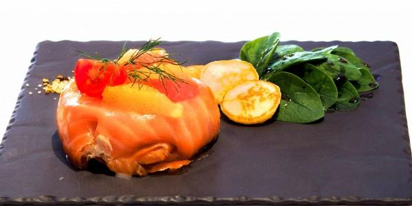 Pannequet de saumon et crabe des neiges aux agrumes de Garavan
