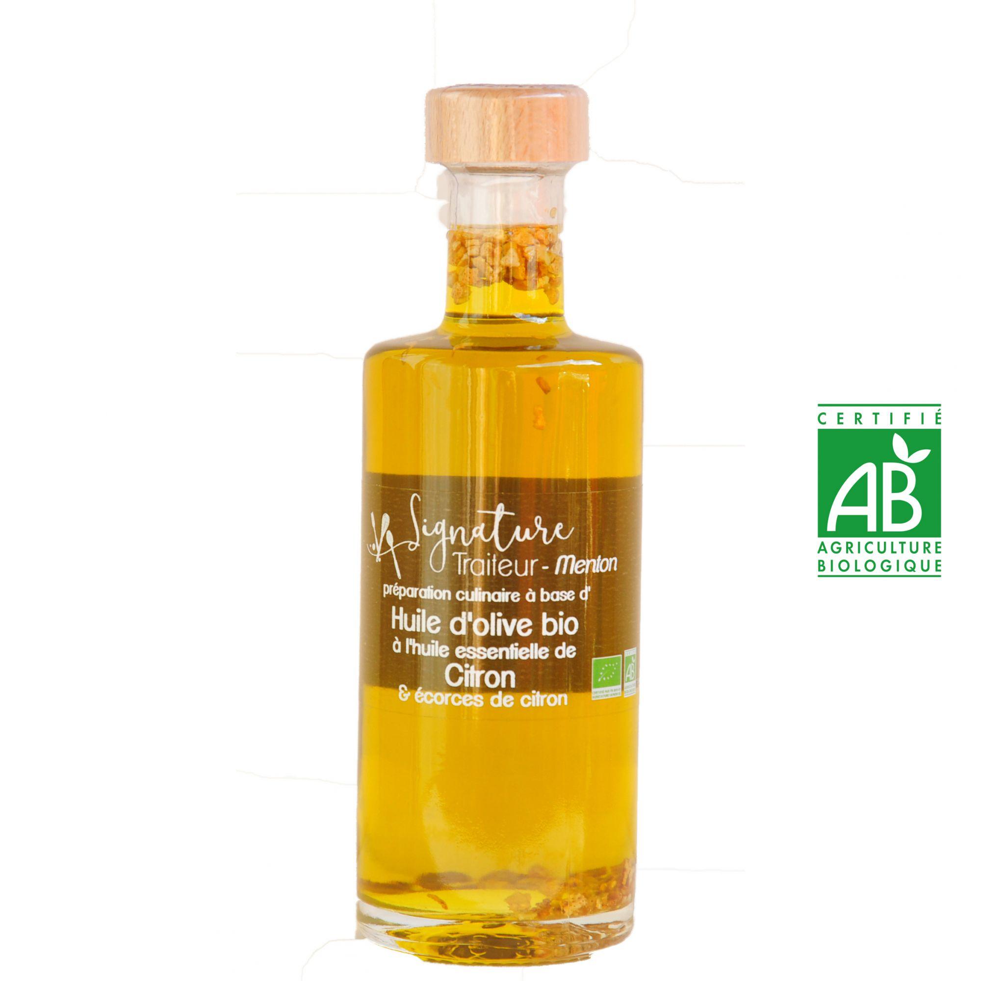 Huile d'Olive BIO à l'huile essentielle de Citron et écorces de citron